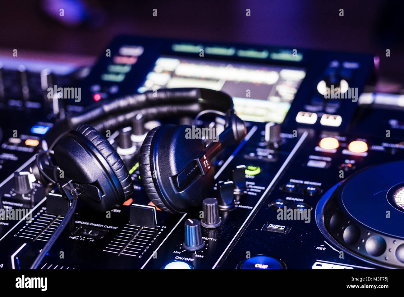 Pioneer RDJ-RX DJ deck during a gig.  February 2018 - Stock Image