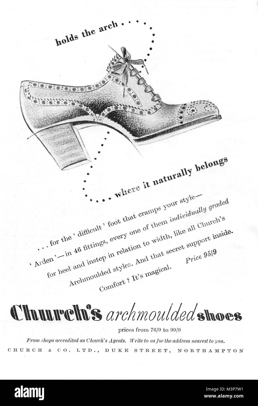 Church's arch moulded shoes advert, advertising in Country Life magazine UK 1951 - Stock Image