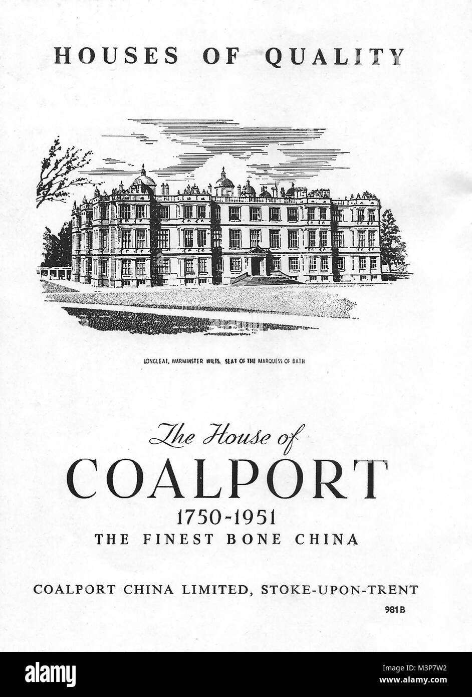 The House of Coalport finest bone china advert, advertising in Country Life magazine UK 1951 - Stock Image