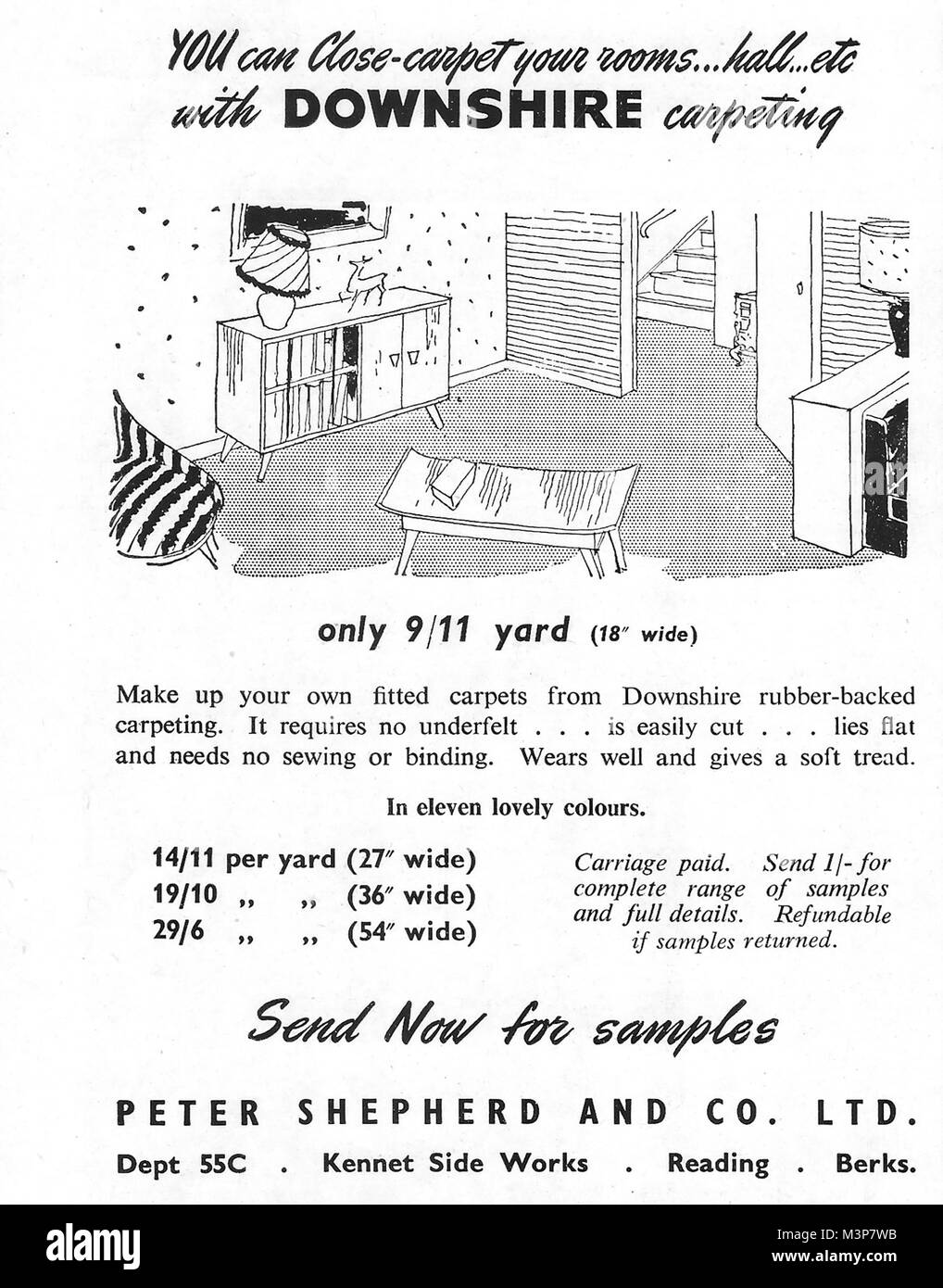 Downshire carpeting carpet advert, advertising in Country Life magazine UK 1951 - Stock Image