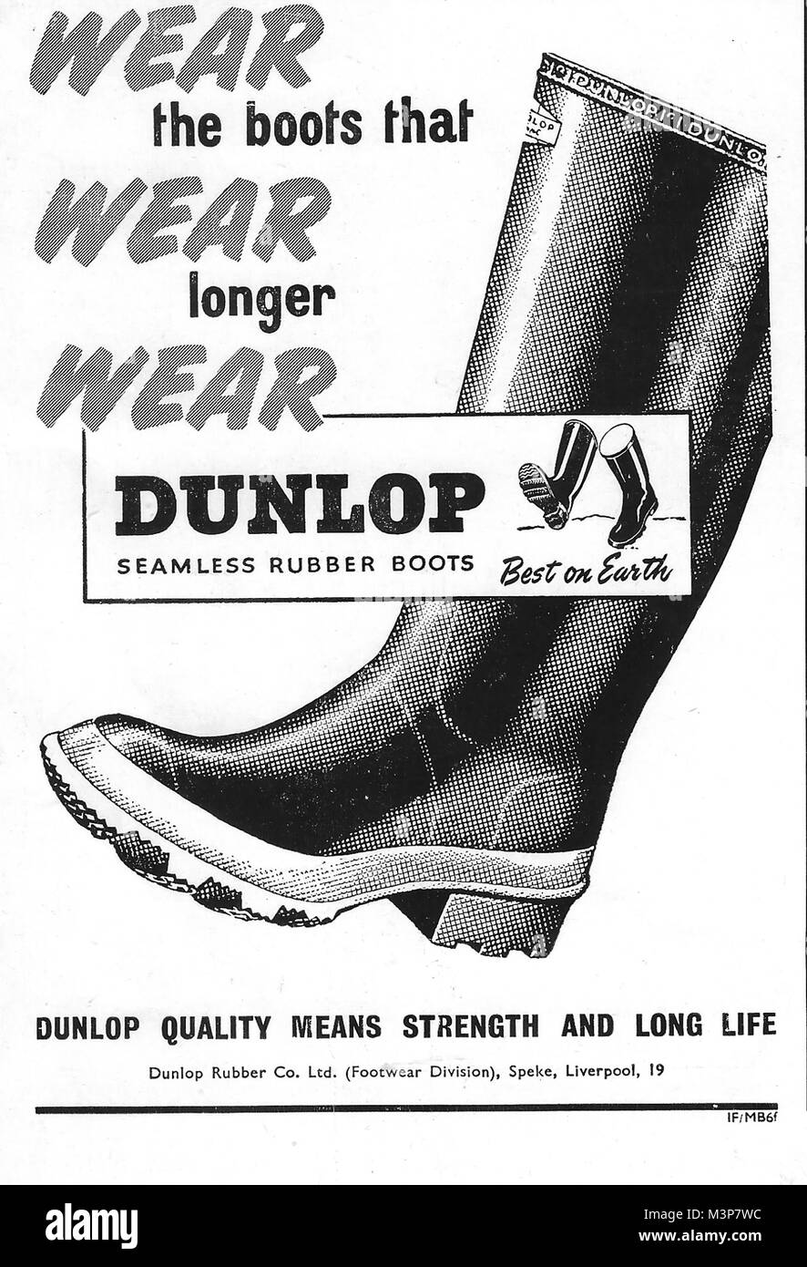 a397a9a384e7 Dunlop rubber boots advert, advertising in Country Life magazine UK 1951 -  Stock Image