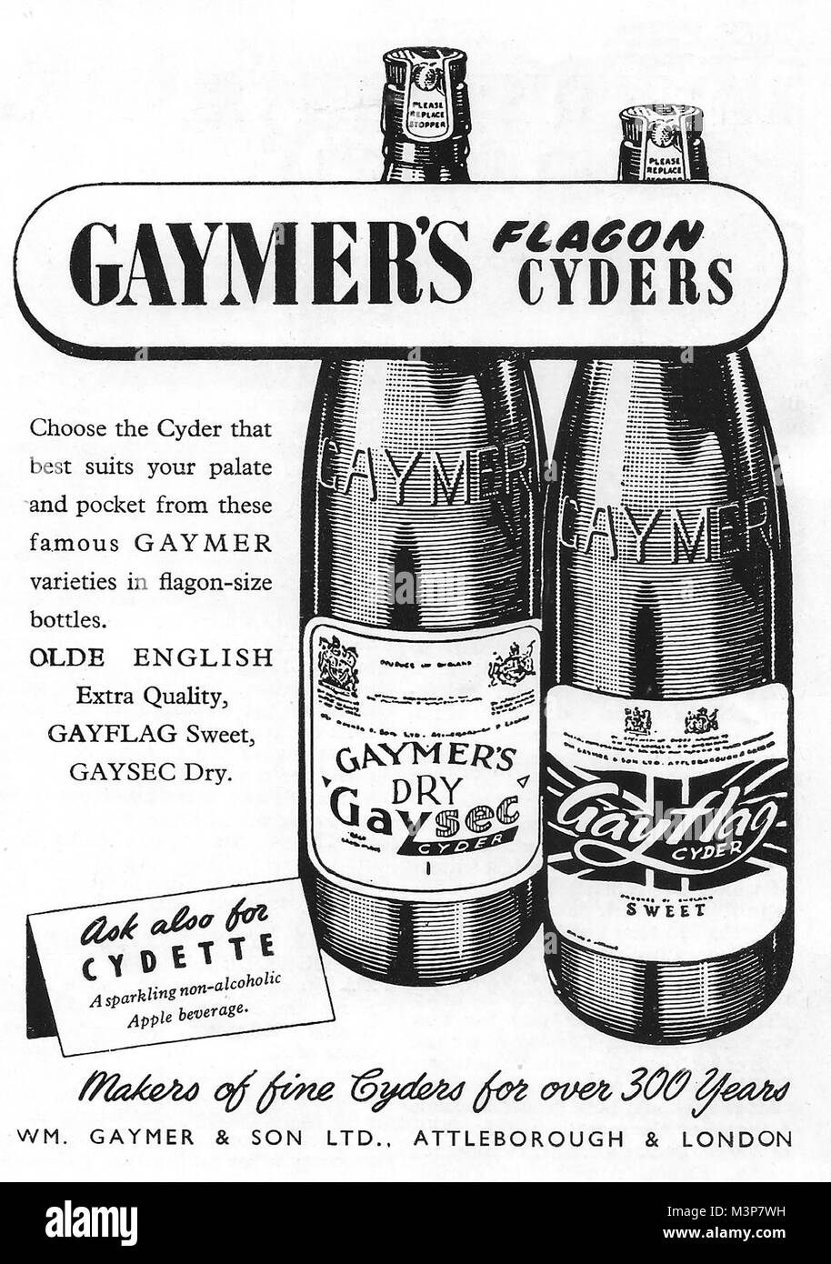 Gaymer cyder flagons advert, advertising in Country Life magazine UK 1951 - Stock Image