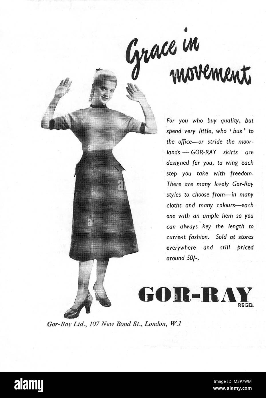 Gor-Ray grace in Movement women clothing advert, advertising in Country Life magazine UK 1951 - Stock Image