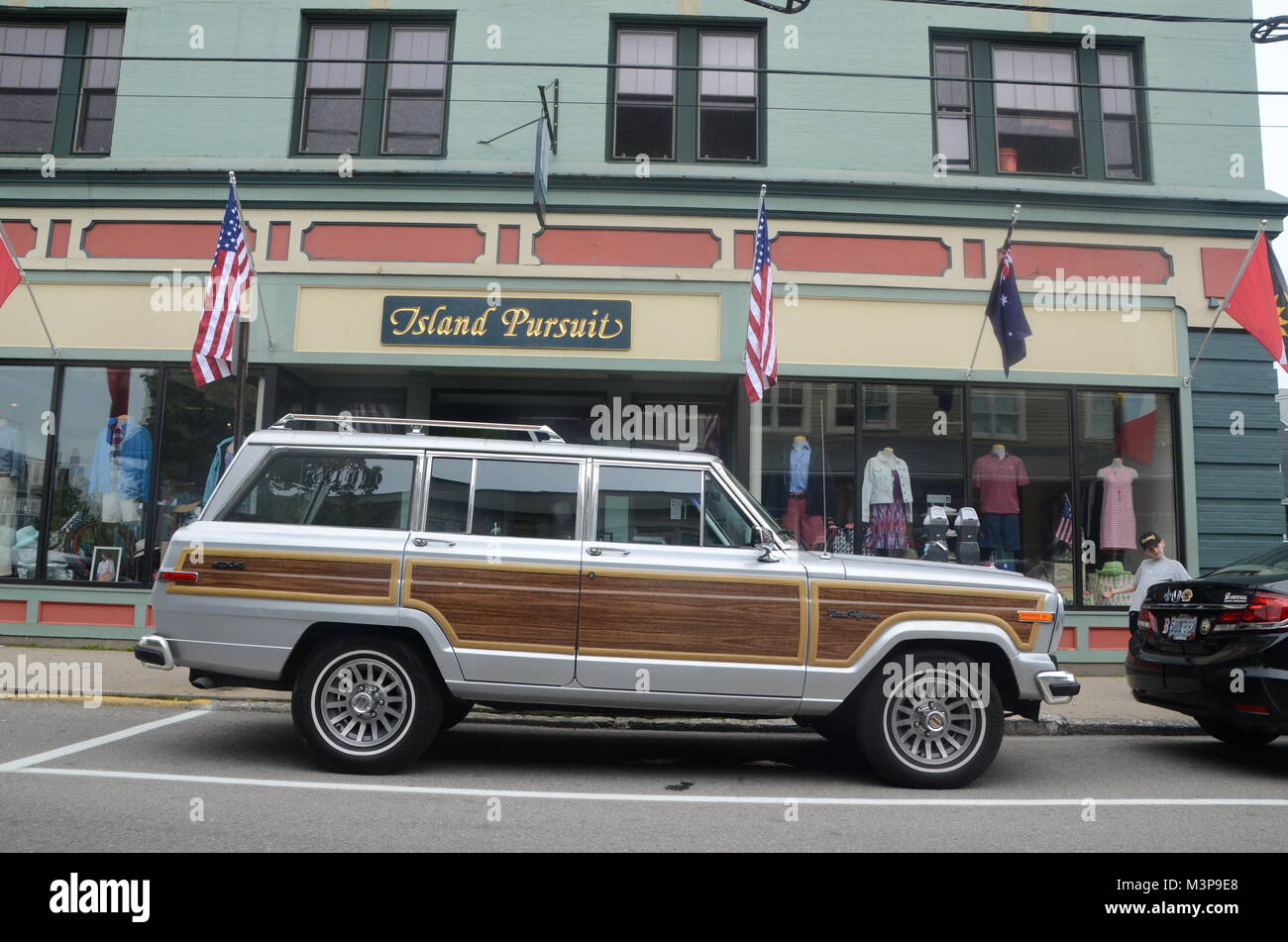 jeep grand wagoneer parked outside of island pursuit clothing store newport rhode island USA - Stock Image