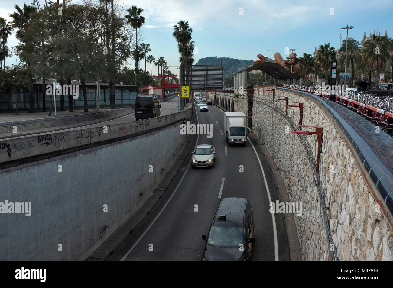 traffic and cars driving on the ronda litoral, orbital road around barcelona city, spain - Stock Image