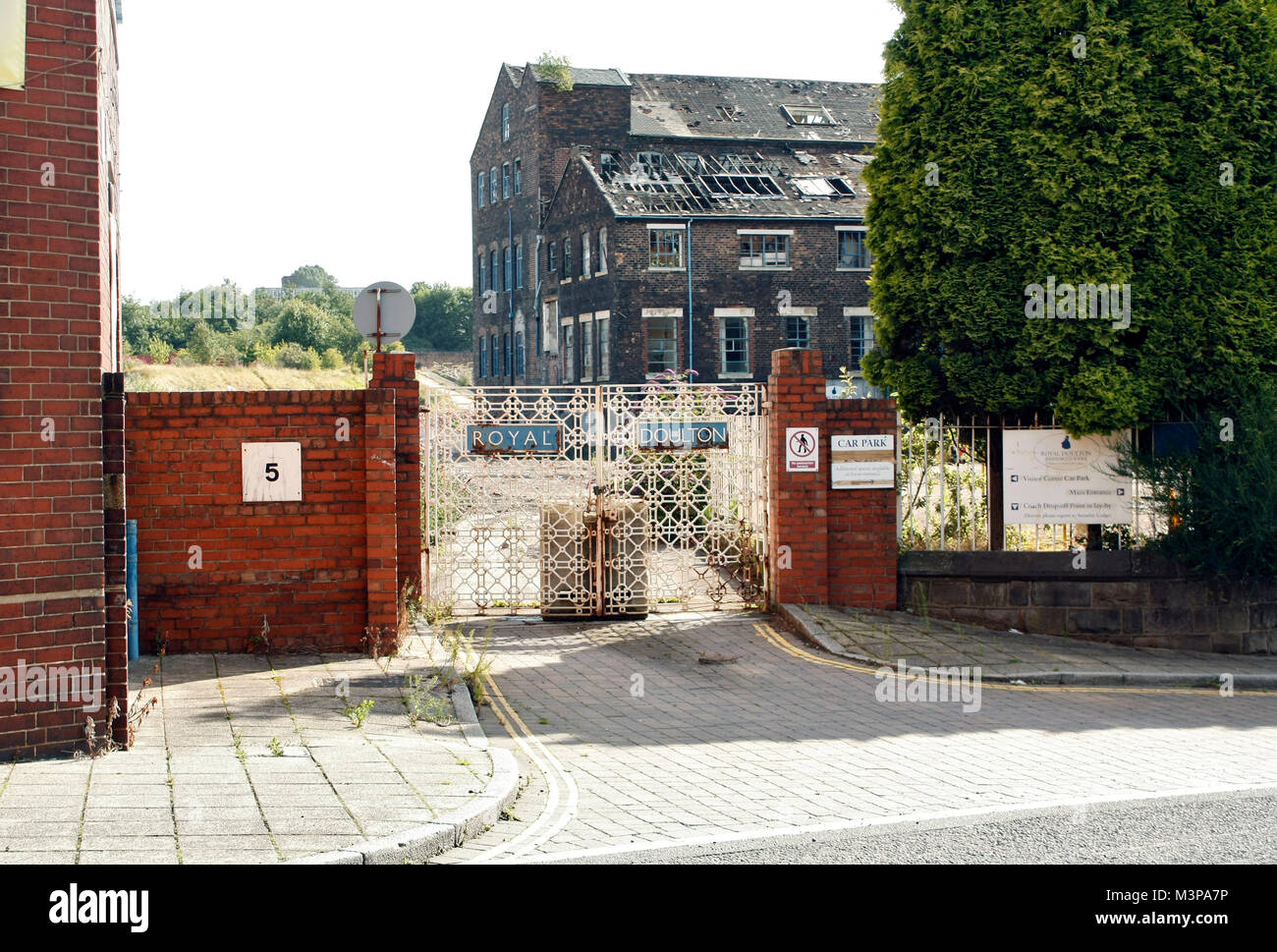 The Historic gate of the Royal Doulton ceramic pot bank factory, closed down, and awaiting demolition, 2009, Burslem, - Stock Image