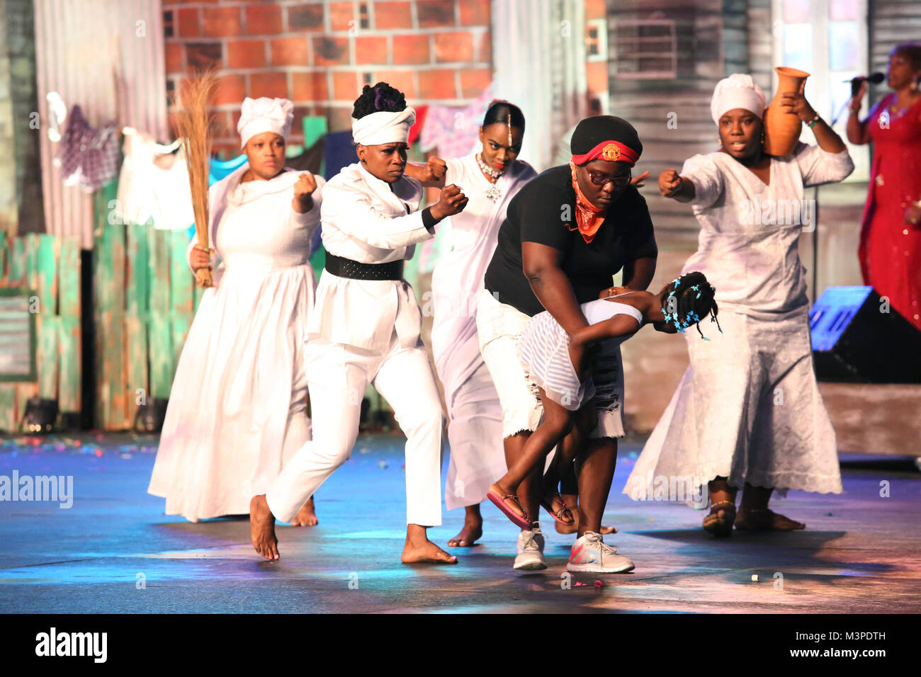 Trinidad, Port of Spain. 11th Feb, 2018. Dancers perform with calypso artiste Singing Sandra during the Dimanche - Stock Image
