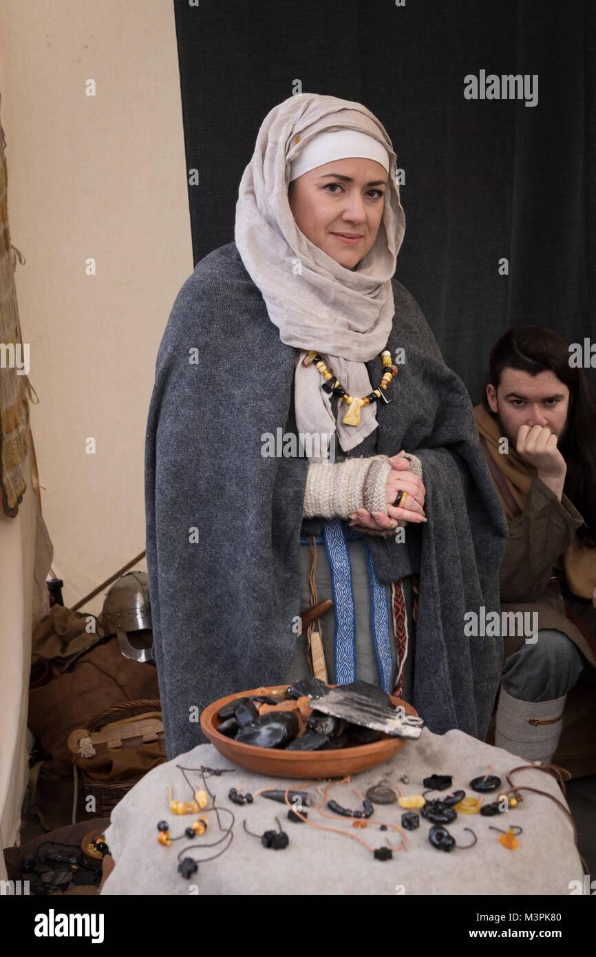 York, UK, 12th February 2018. Woman dressed as a Viking at the annual Jorvik Viking Festival. She is taking part - Stock Image
