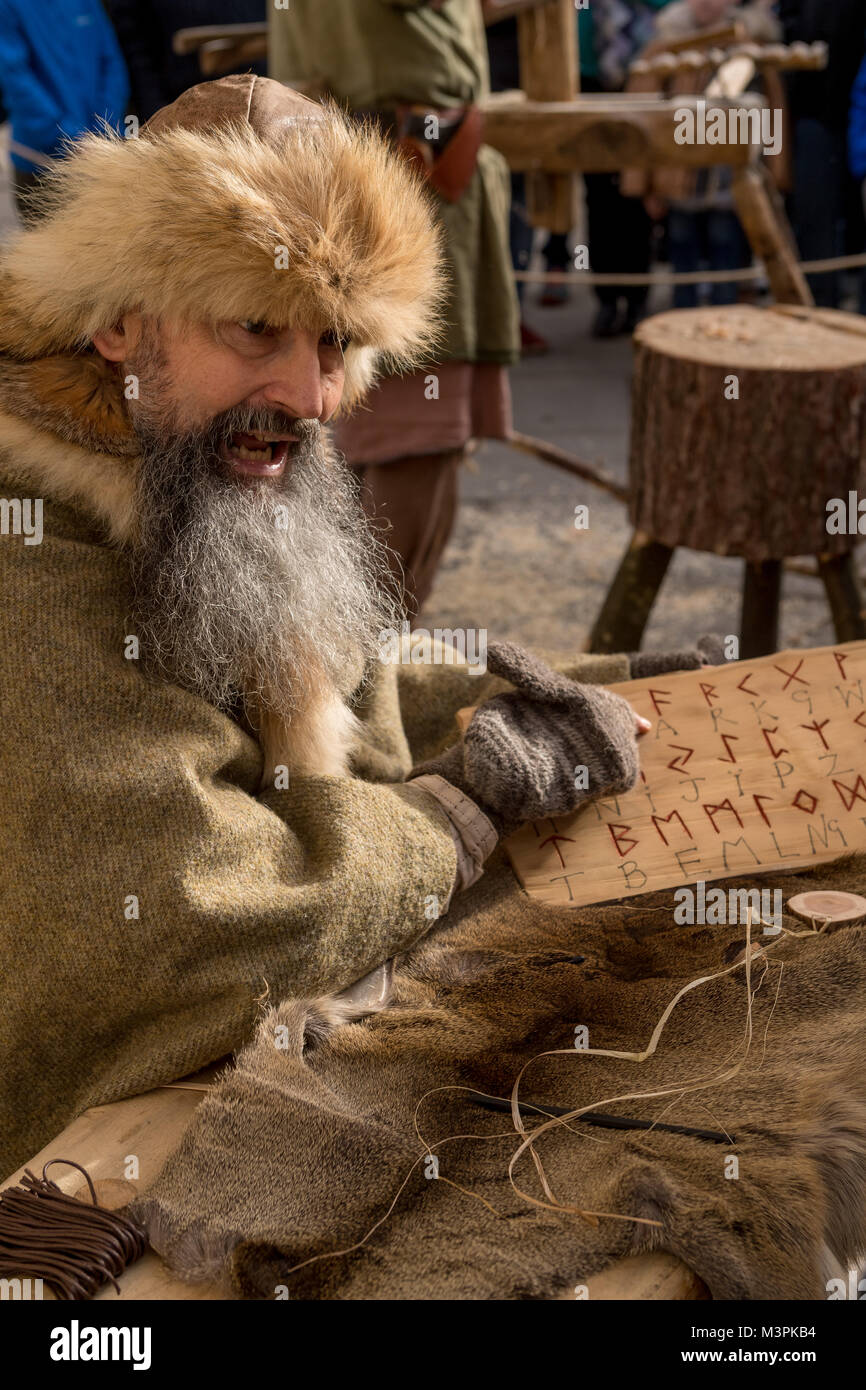 York, UK, 12th February 2018. Long-bearded man dressed as a Viking at the annual Jorvik Viking Festival. Sitting - Stock Image