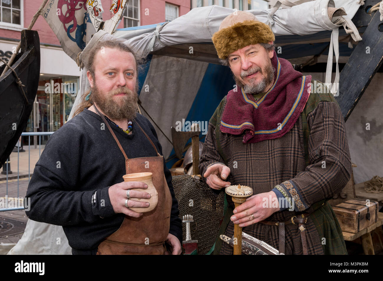 York, UK, 12th February 2018, People dressed as Vikings at the annual Jorvik Viking Festival. These 2 men are standing - Stock Image