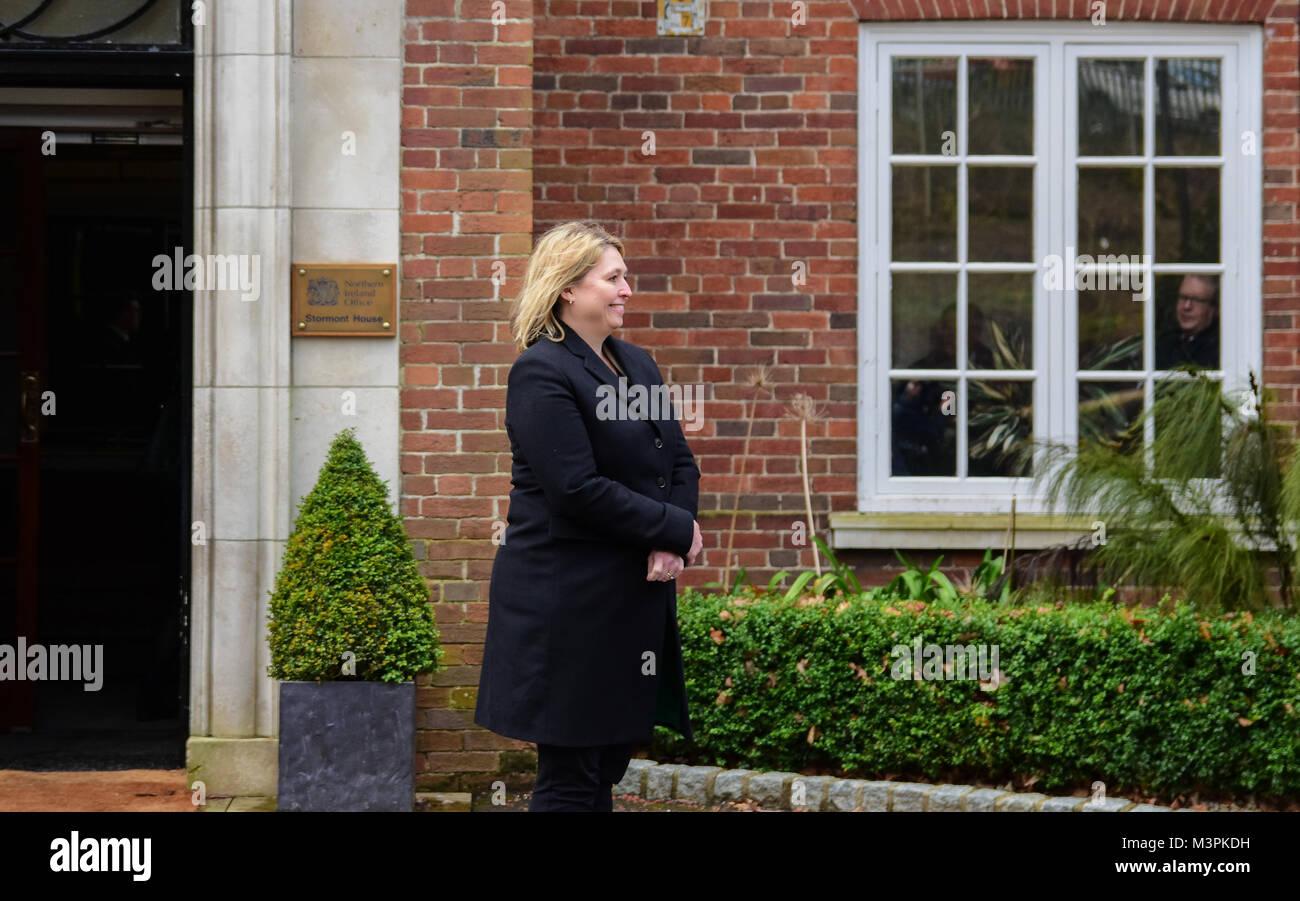 Belfast, UK. 12th February, 2018. The Northern Ireland Secretary of State Karen Bradley at Stormont house, Belfast - Stock Image
