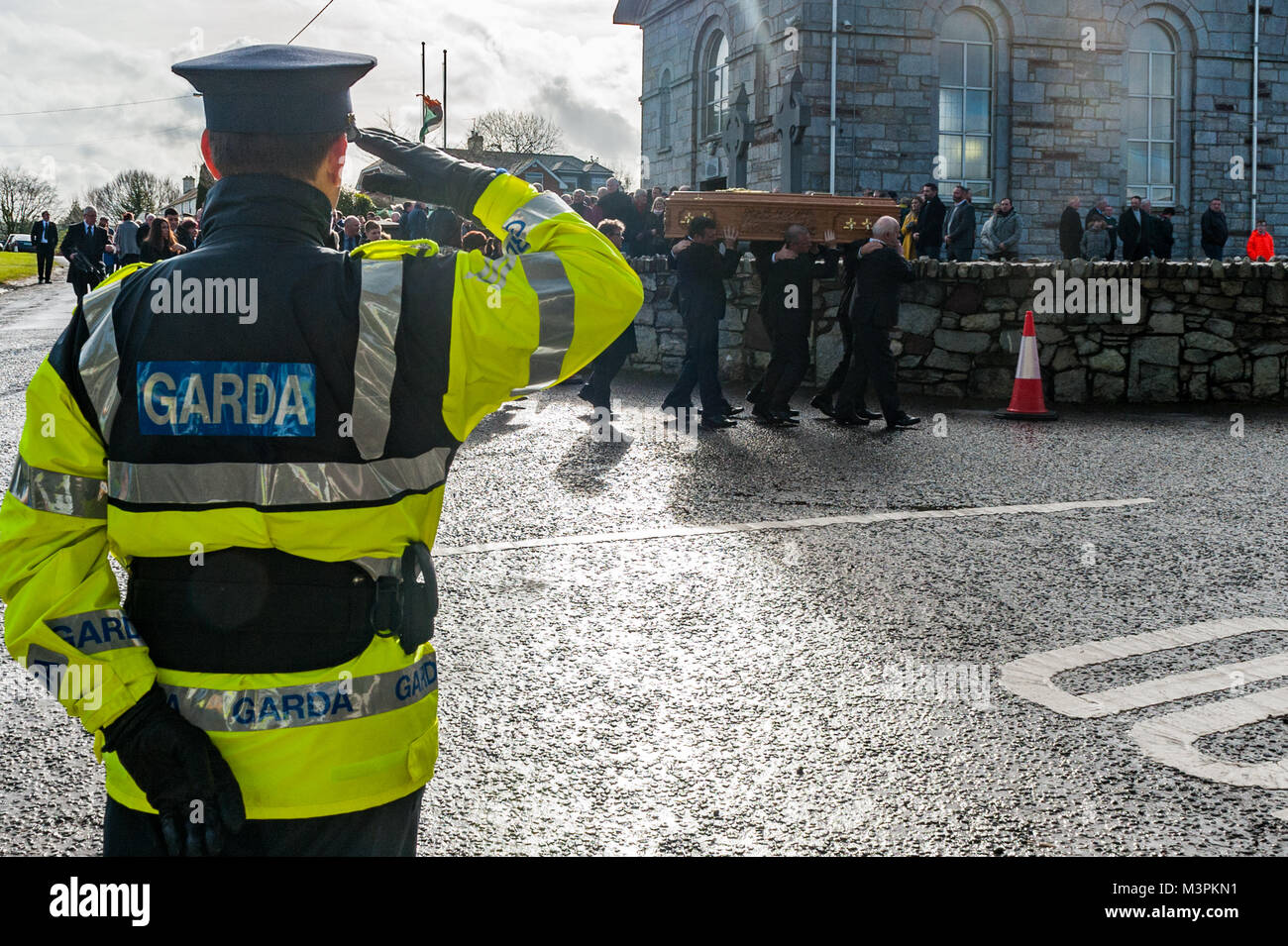 Ovens, Ireland. 12th Feb, 2018. The funeral of footballer Liam Miller took place today at St. John the Baptist Church, Stock Photo