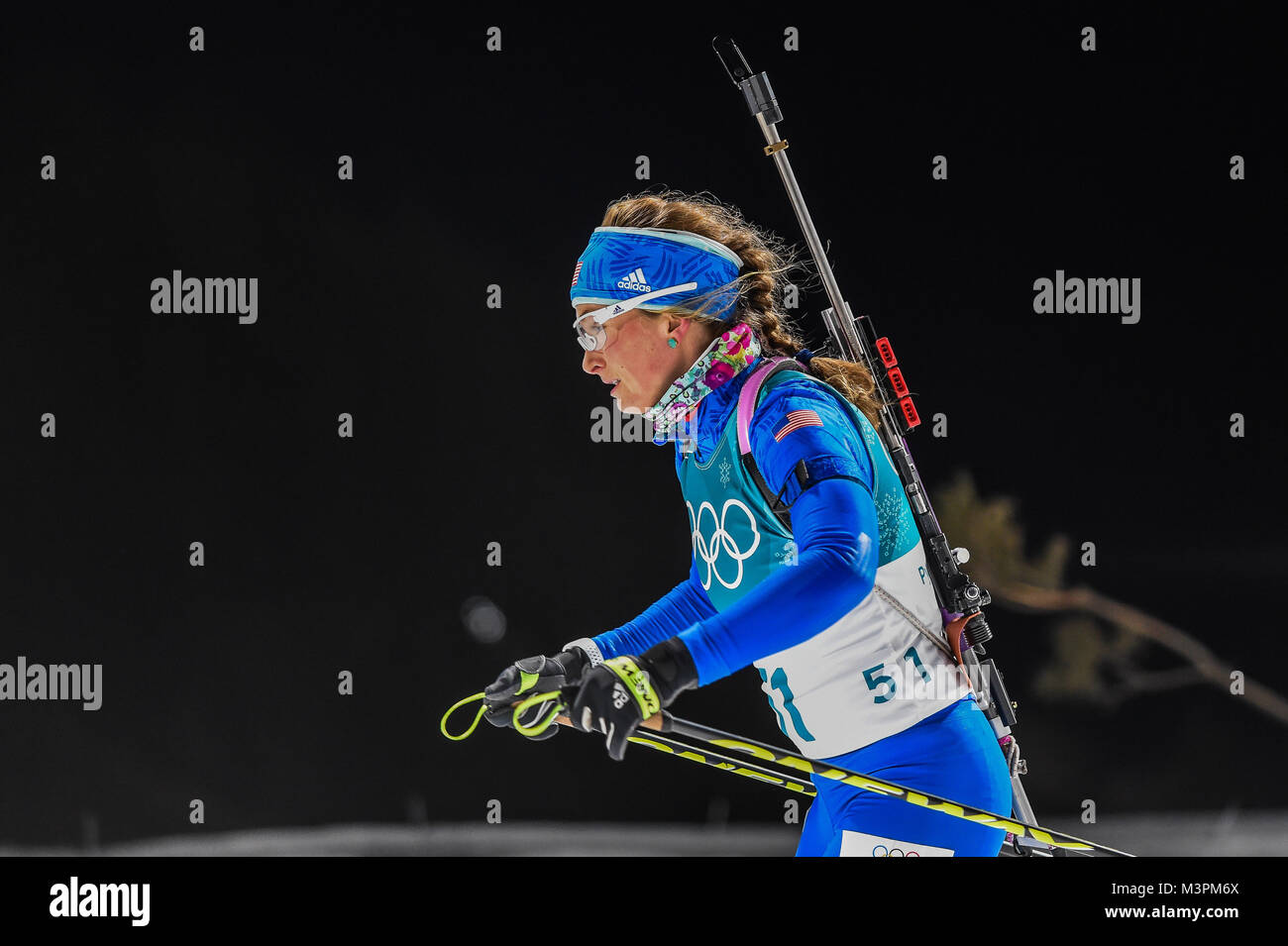 Pyeongchang, South Korea. February 12, 2018: Vanessa Hinz of Germany competing at Women's 10km Pursuit, - Stock Image
