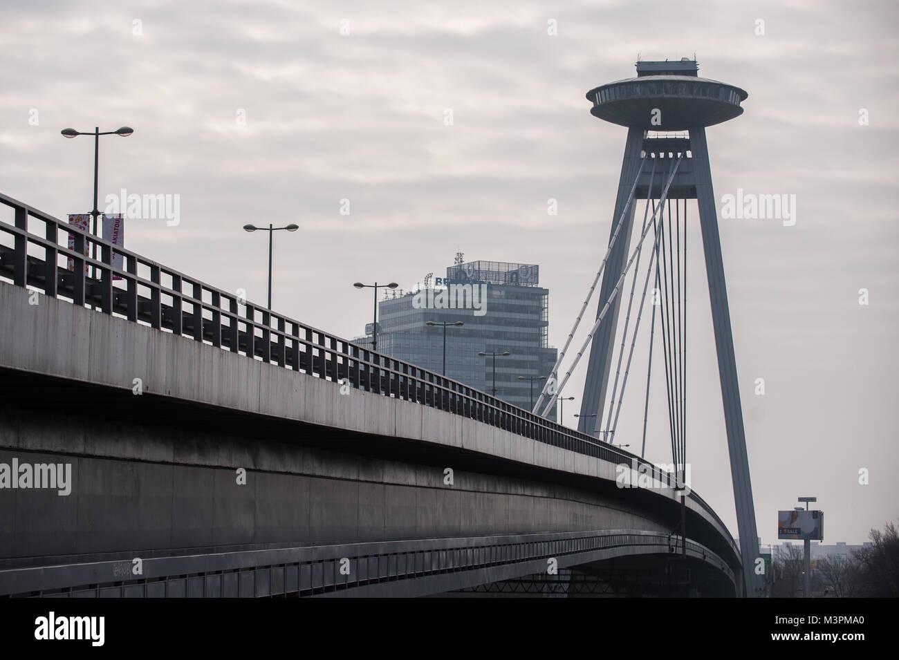 Bratislava, Slovakia. 10th Feb, 2018. UFO Bridge or Most SNP seen in ...