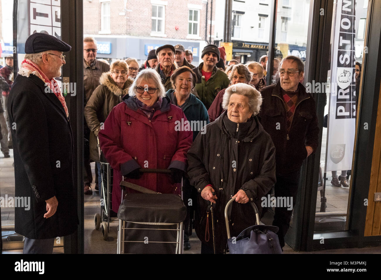 Preston, UK. 12th February 2018. The doors of Preston's refurbished and modernised Victorian Market being opened - Stock Image