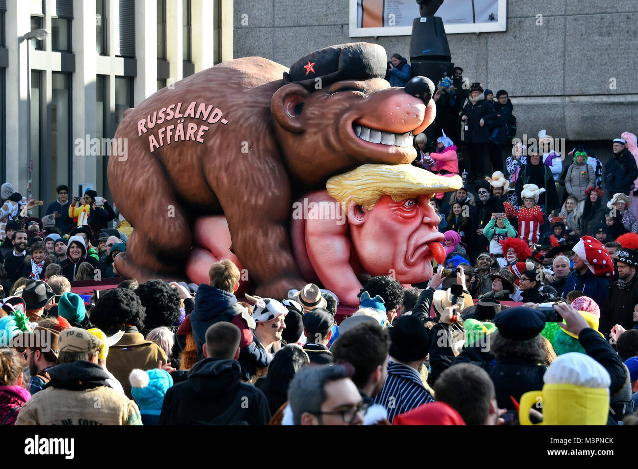 Duesseldorf, Germany. 12th February, 2018. Carneval, Rose Monday Parade: US President Donald Trump on a float during Stock Photo