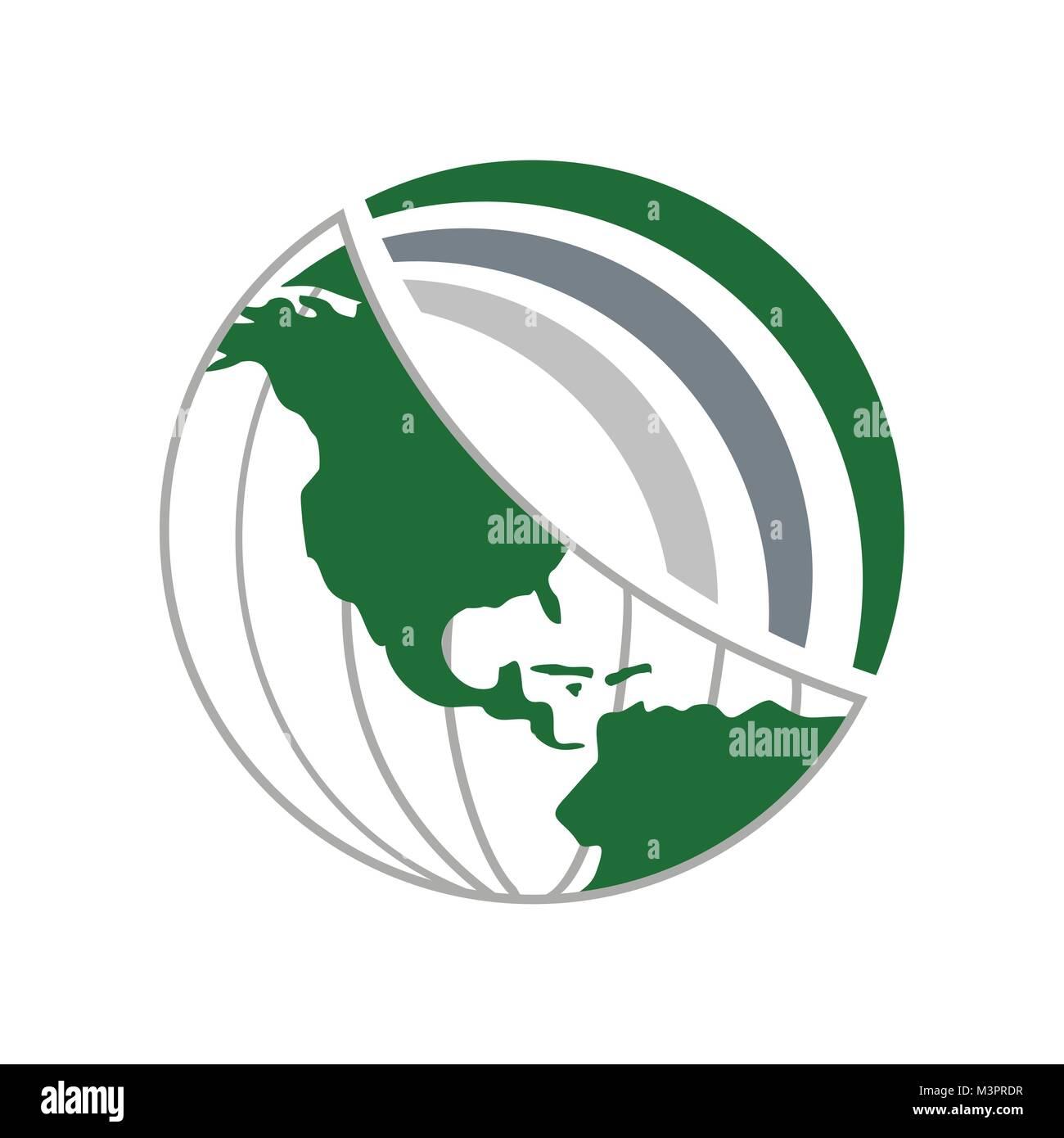 Green World Global Network Vector Symbol Graphic Logo Design - Stock Image