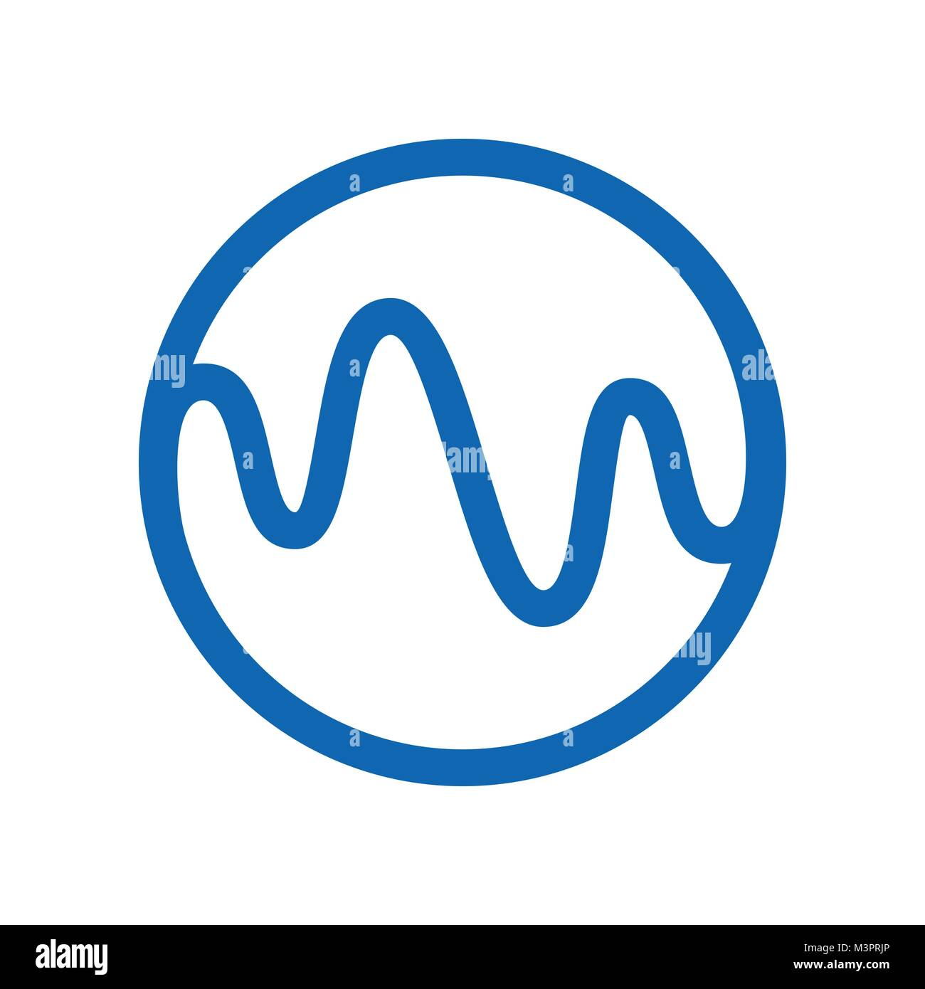 Dynamic Curl Wave Circle Vector Symbol Graphic Logo Design - Stock Image