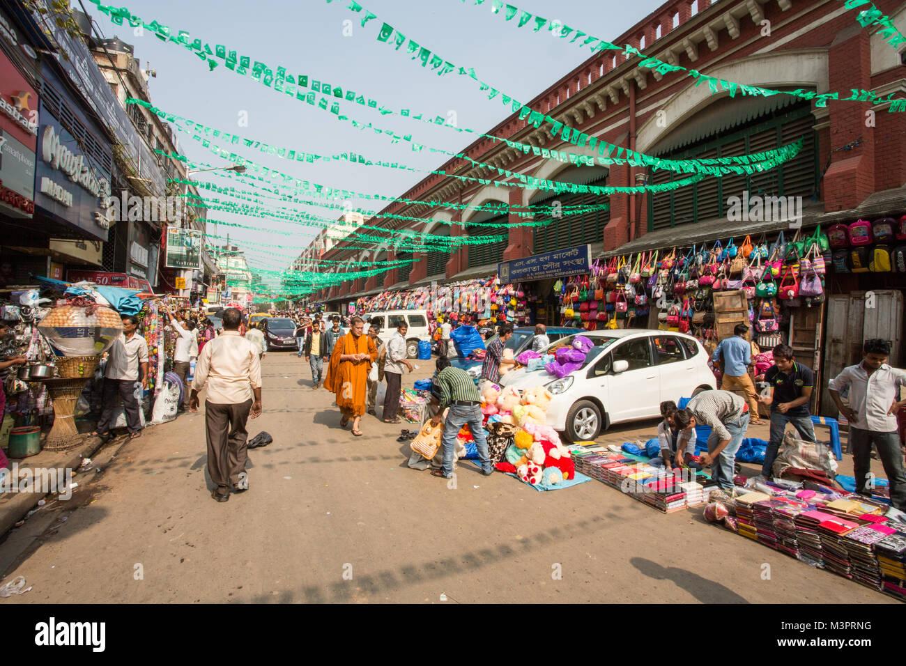 A Street Market in Kolkata, India - Stock Image