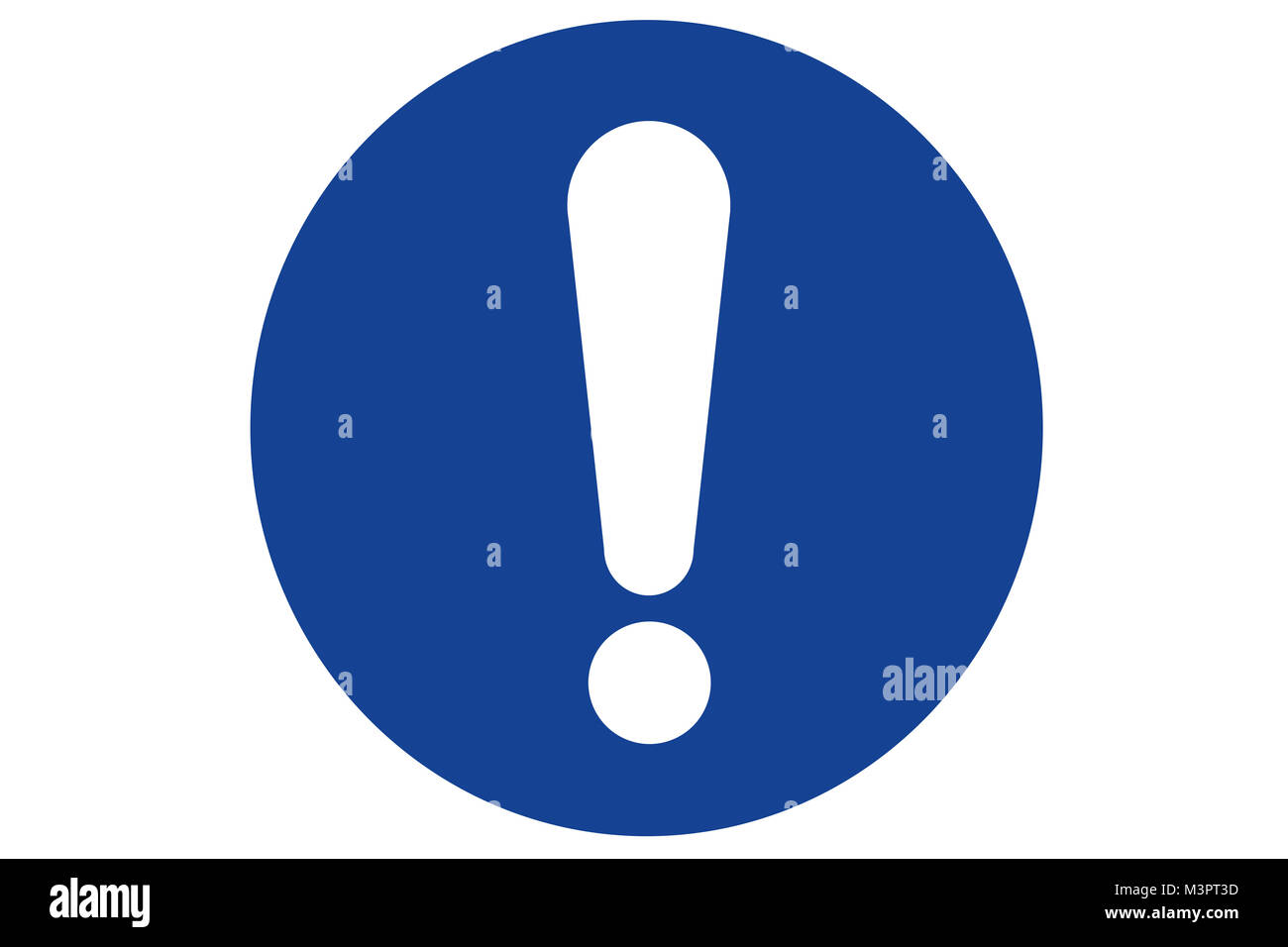 A blue circular warning or information sign containing an exclamation mark - Stock Image