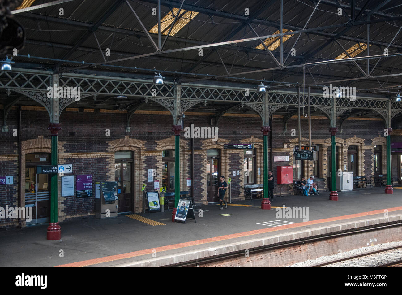 Geelong Railway Station. Geelong is a port city located on Corio Bay, in Victoria, Australia, 75 km SW of the state - Stock Image