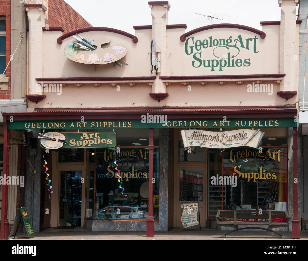 Geelong Art Supplies store occupies one of a group of heritage commercial buildings on Ryrie Street, Geelong, Victoria, Stock Photo