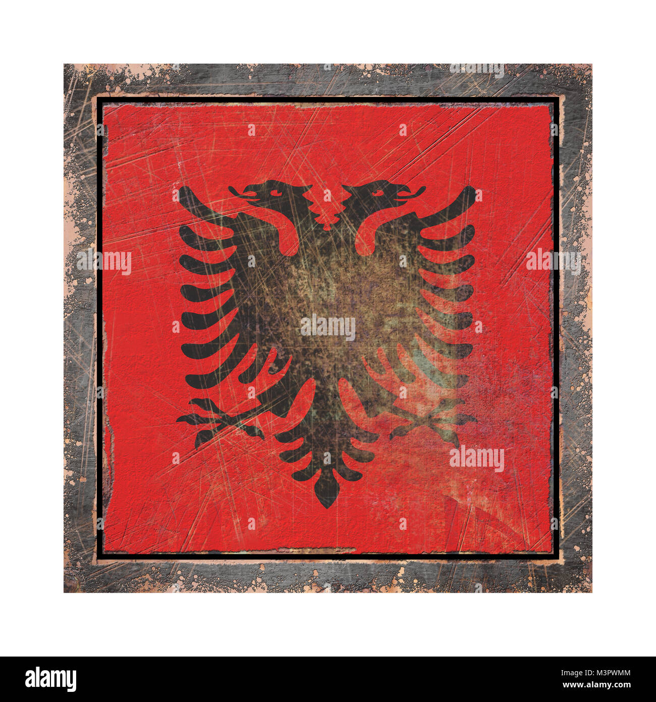 3d rendering of an Albania flag over a rusty metallic plate wit a rusty frame. Isolated on white background. - Stock Image
