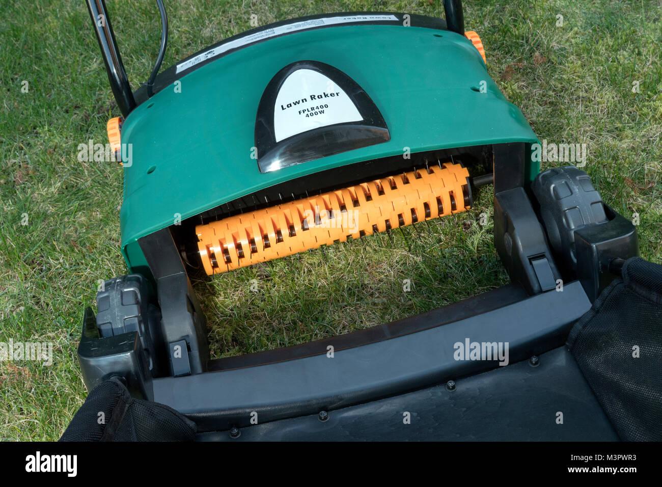 Electric garden lawn raker - Stock Image