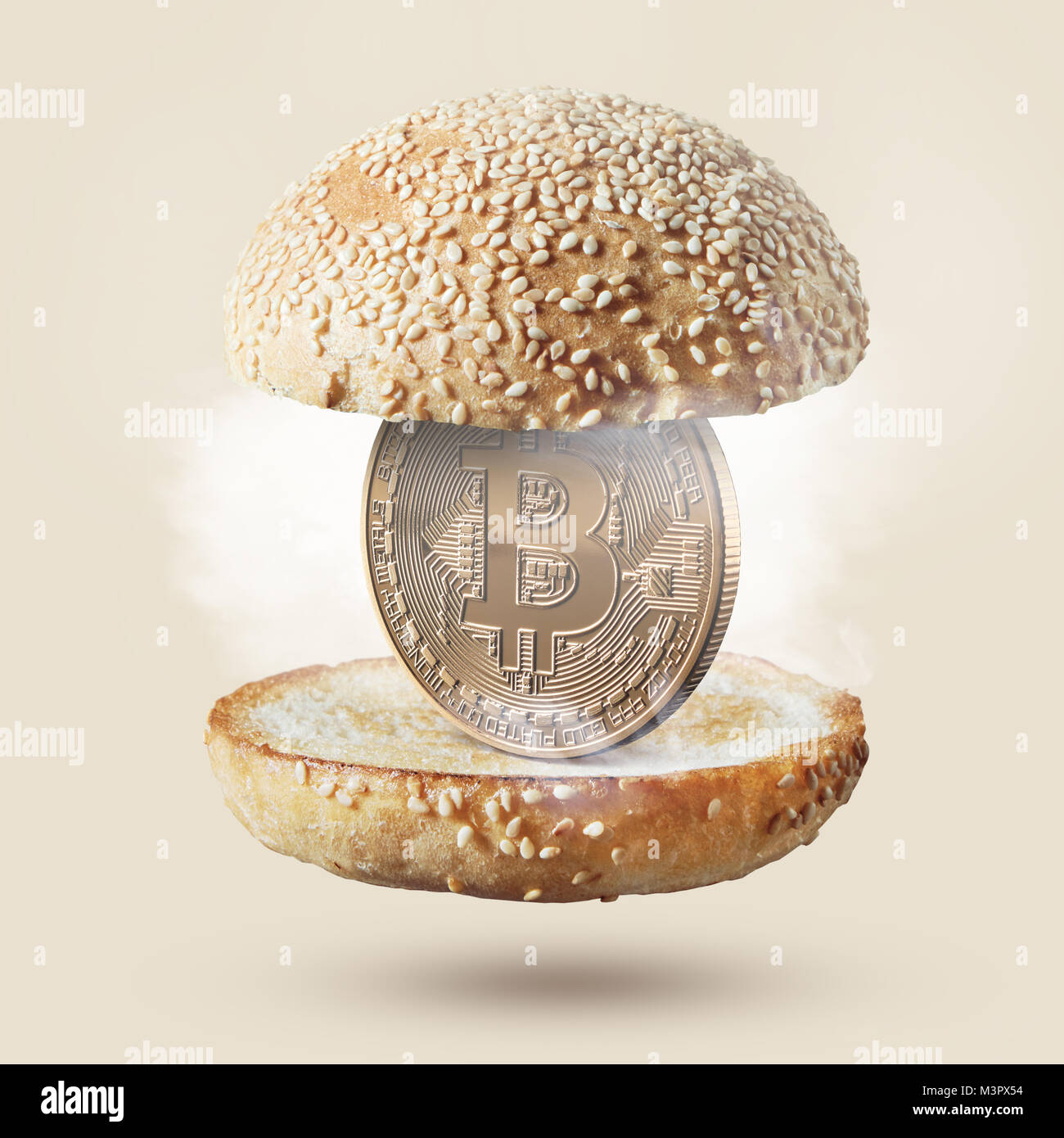 Hot burger buns with a coin bitcoin gold inside food concept buy hot burger buns with a coin bitcoin gold inside food concept buy food for cryptocurrency photo can be used for food ico projects or news about inno ccuart Images