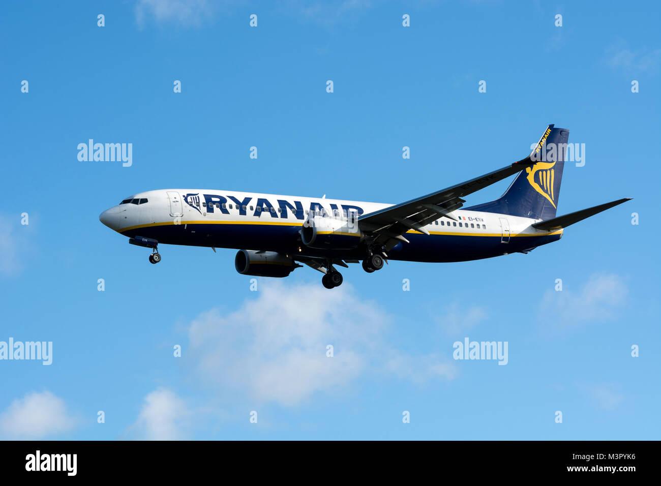 Ryanair Boeing 737 approaching Birmingham Airport, UK (EI-EVK) - Stock Image