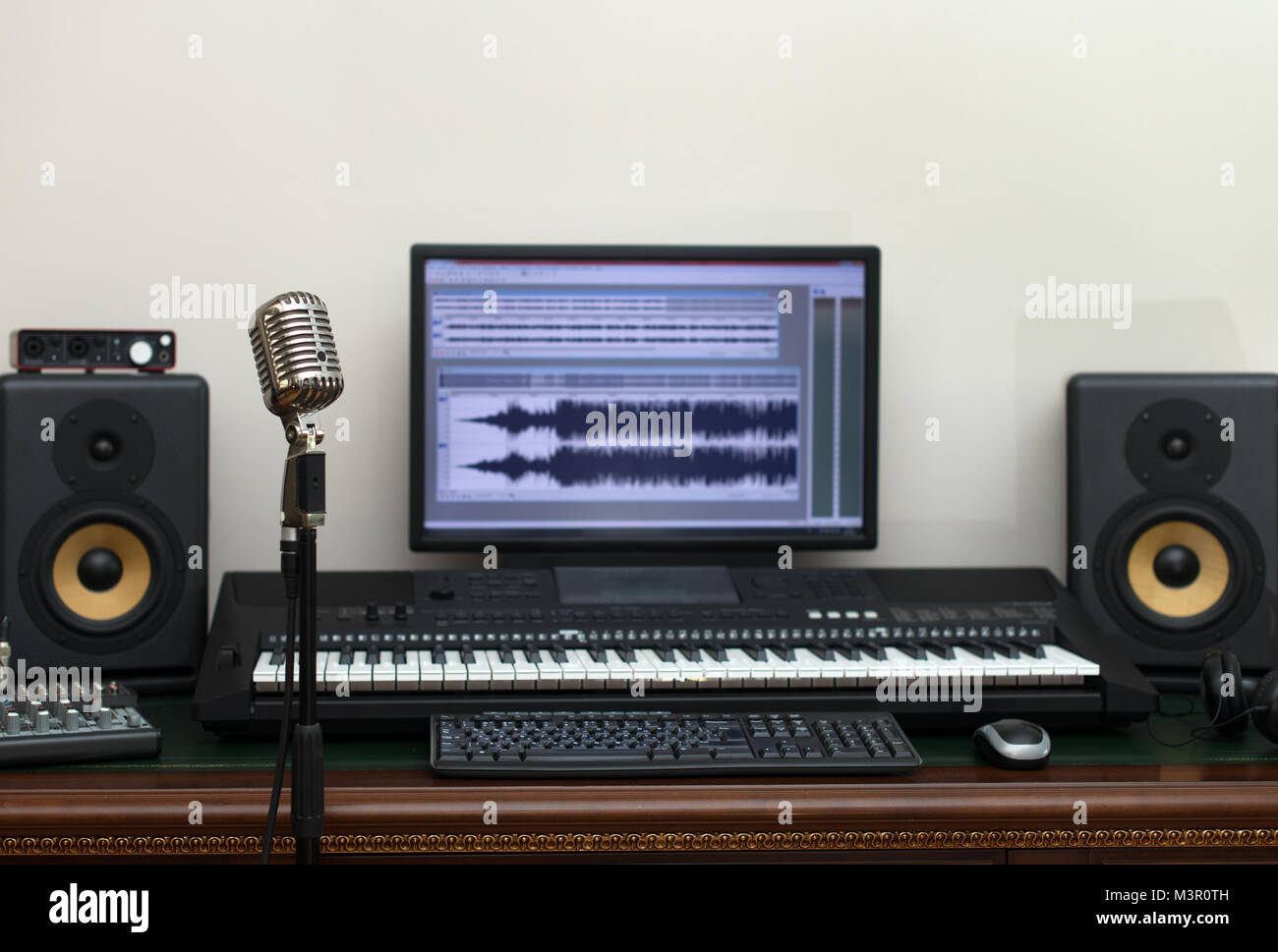 home recording studio with professional monitors and midi keyboard stock photo 174453233 alamy. Black Bedroom Furniture Sets. Home Design Ideas