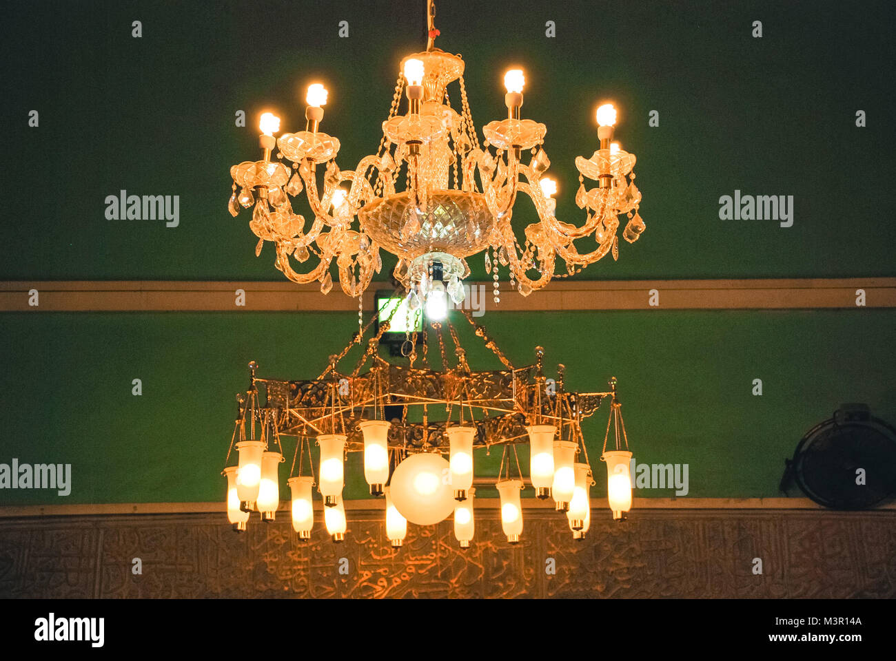 Chandelier cave stock photos chandelier cave stock images alamy horizontal picture of the two amazing chandeliers inside cave of machpela and patriarchs in hebron aloadofball
