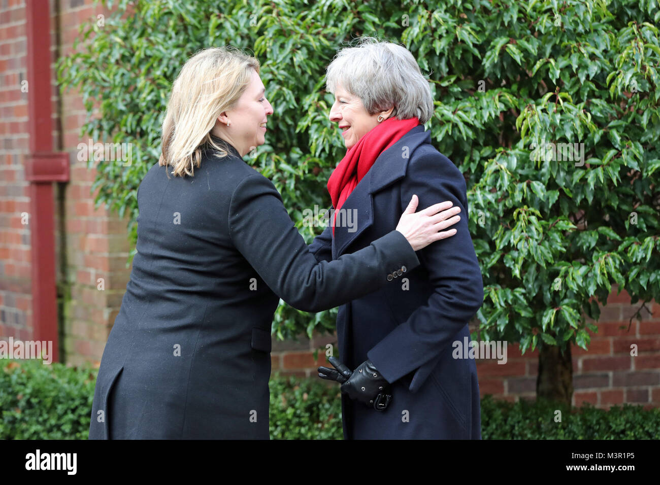 Northern Ireland Secretary Karen Bradley welcomes Prime Minister Theresa May to Stormont in Belfast where they will - Stock Image