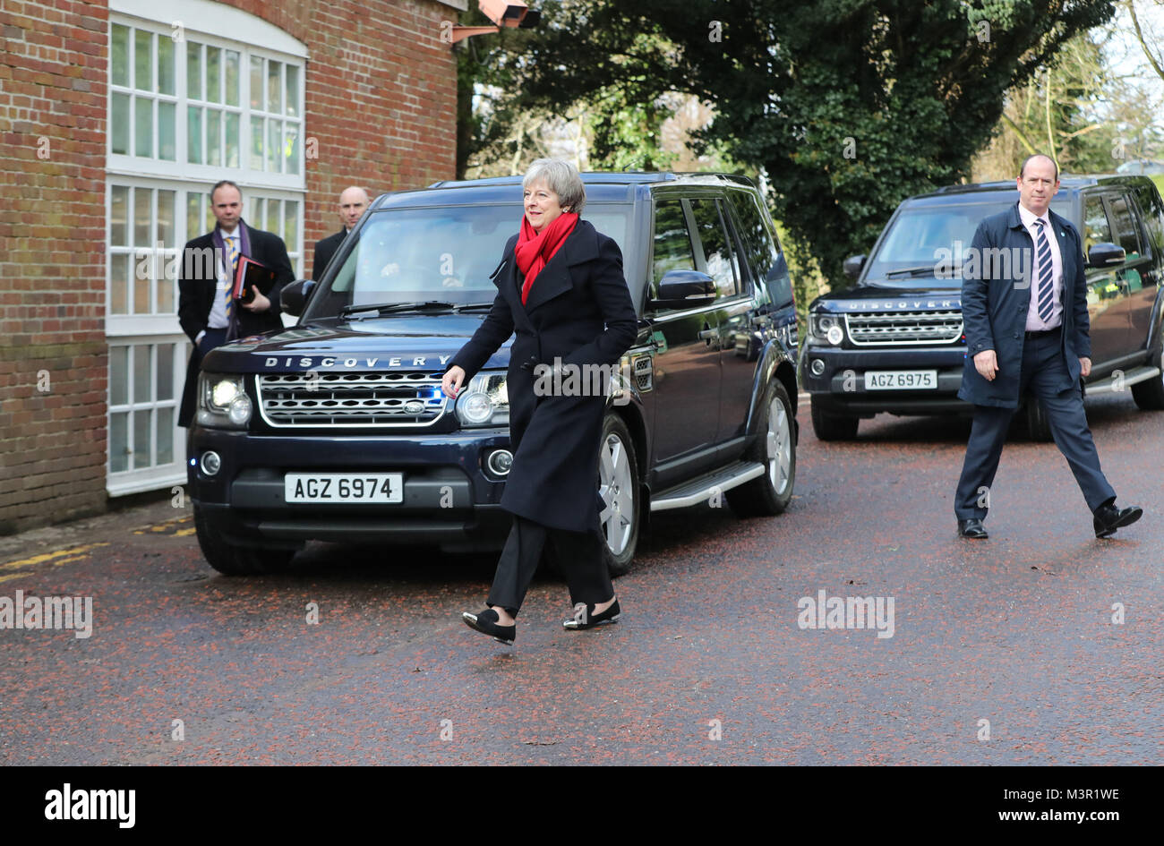 Prime Minister Theresa May arrives at Stormont House in Belfast ahead of talks aimed at ending the 13-month political - Stock Image