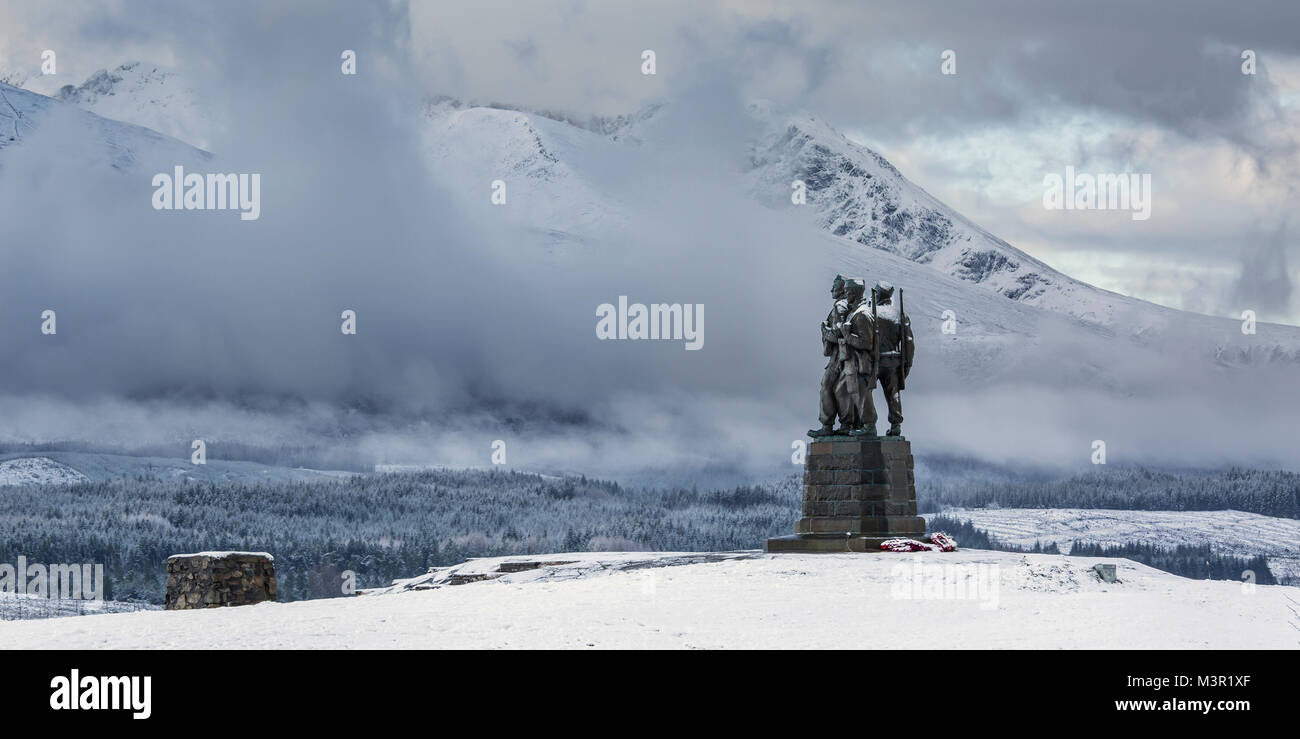 Sunrise at the Commando memorial near Spean Bridge, Scotland, UK - Stock Image