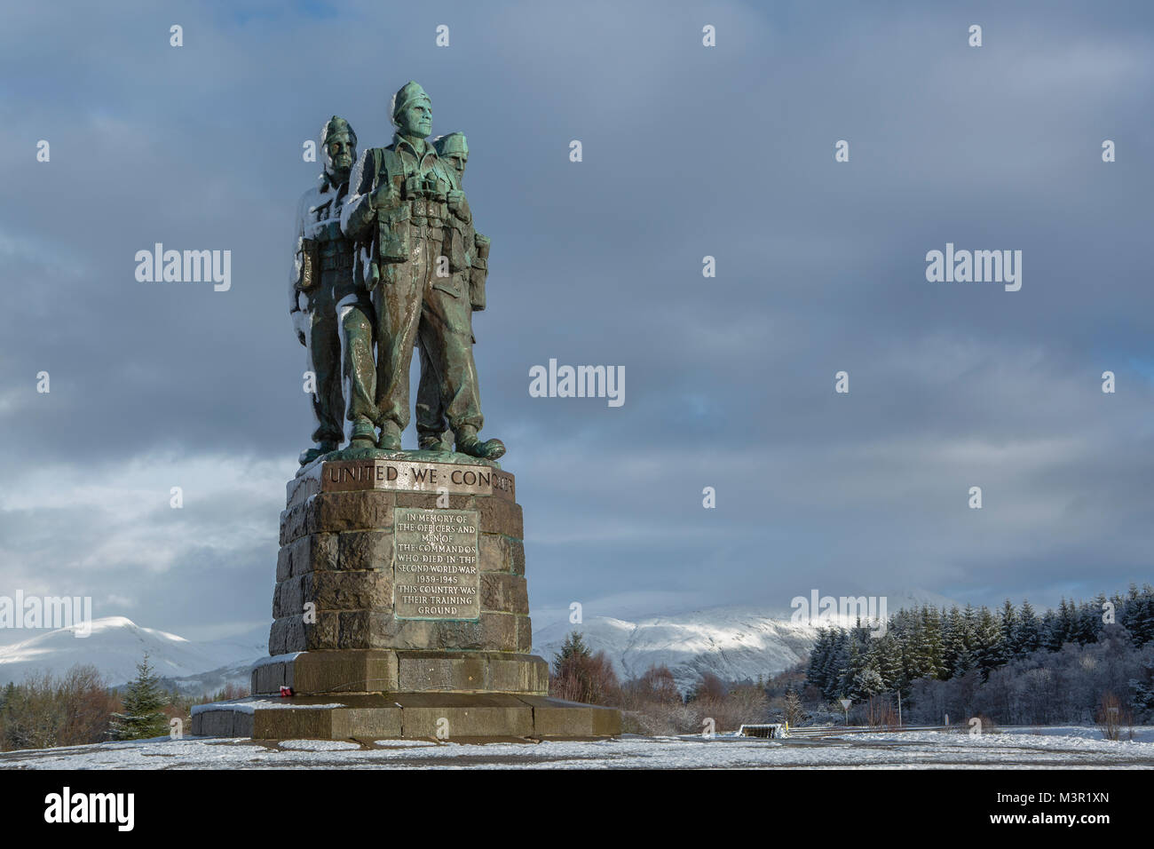 Sunrise at the Commando memorial near Spean Bridge, Scotland - Stock Image