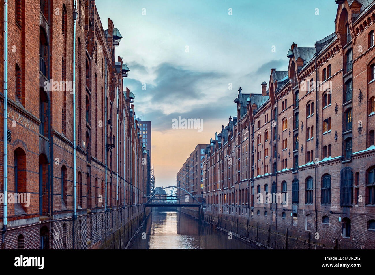 Old Speicherstadt or warehouses in Hamburg, Germany - Stock Image