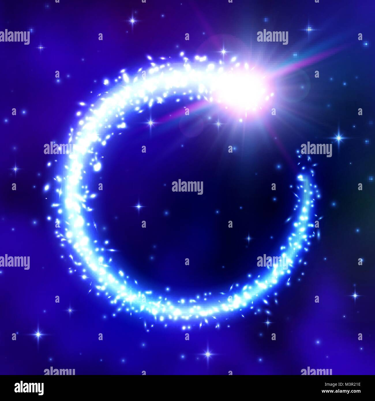 Glowing comet frame on blue space background with night cloudy sky. Flash of light, galactic nebula, flickering - Stock Image