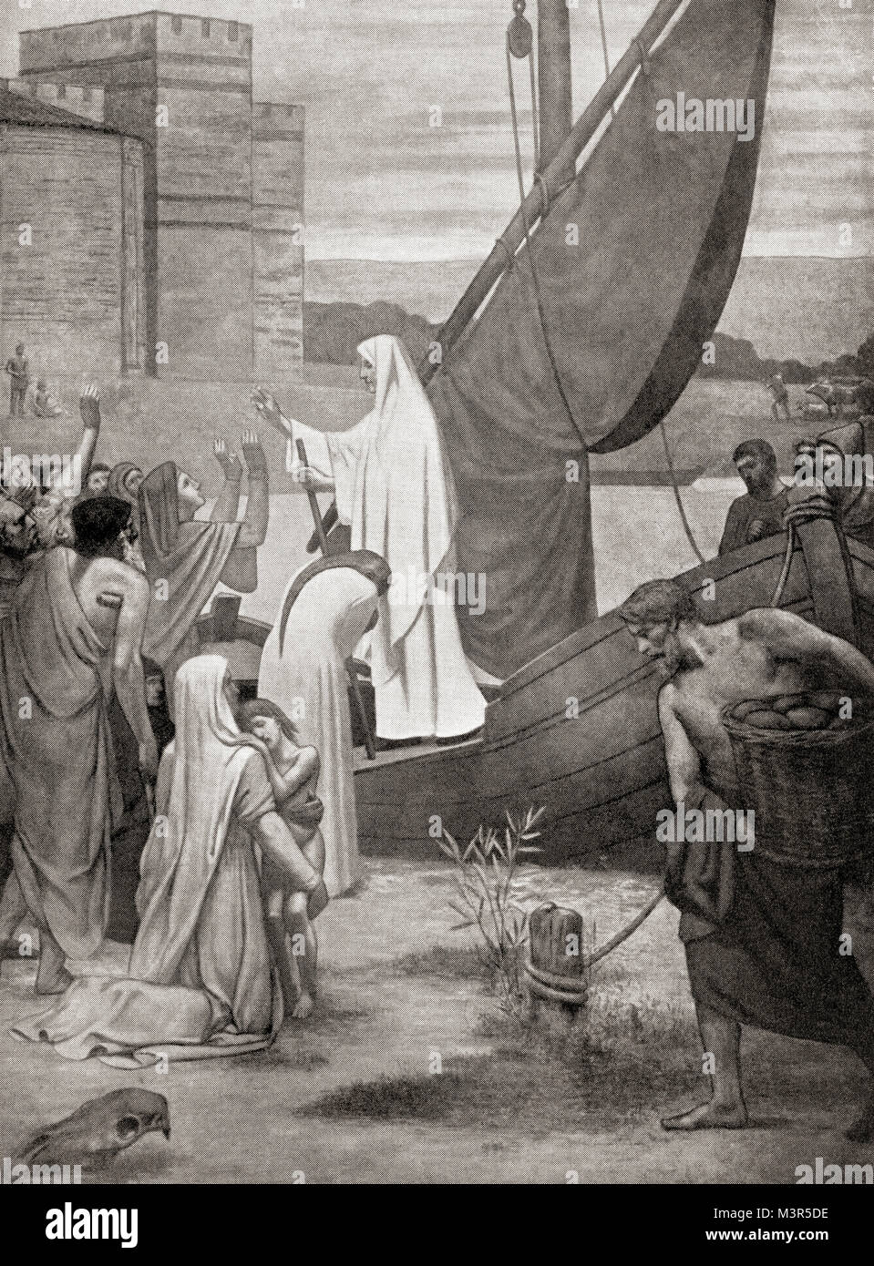 Saint Genevieve, the patron saint of Paris, taking supplies to the citizens of Gaul who were on the verge of starvation Stock Photo