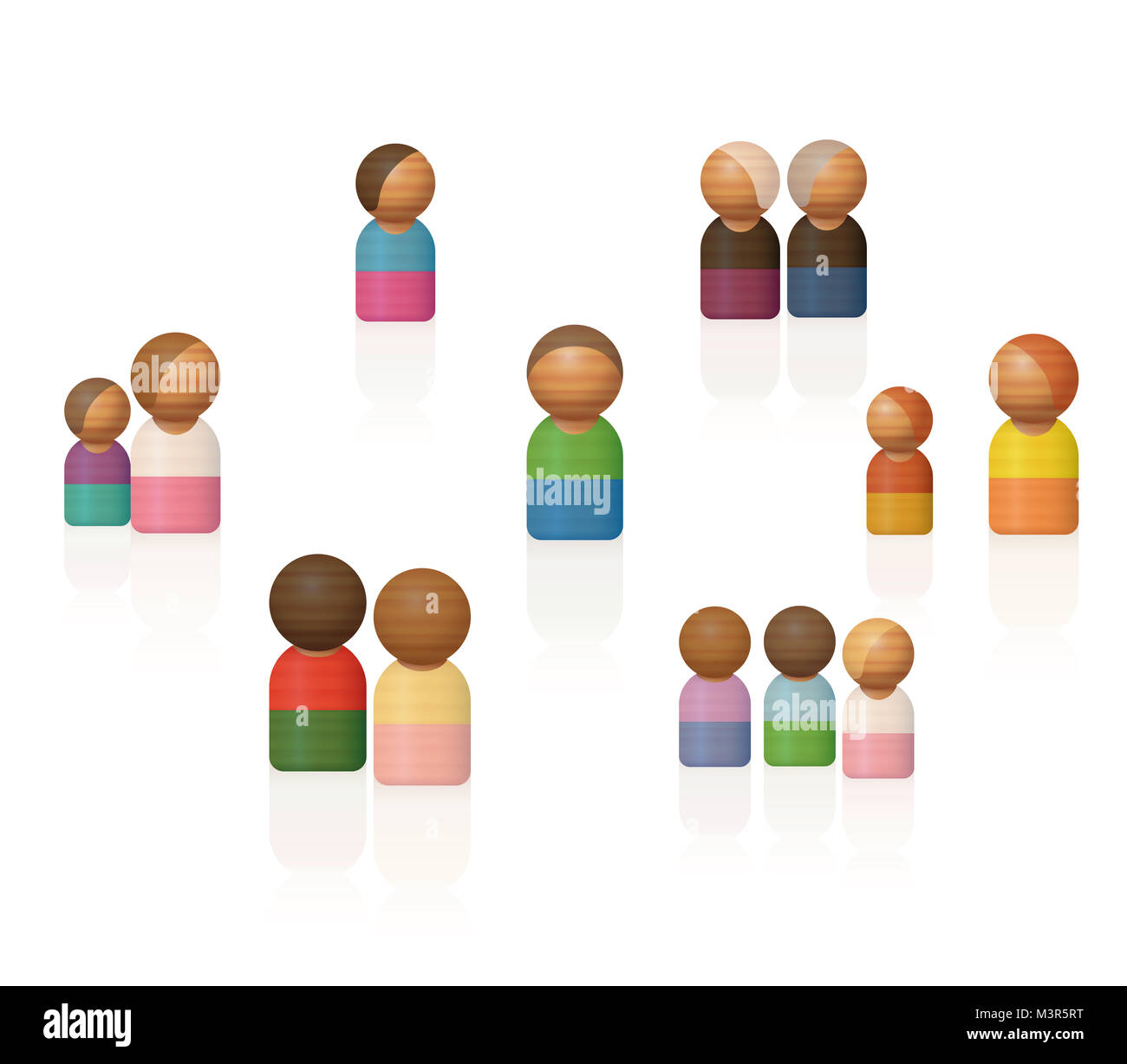 Family constellations. Therapeutic wooden toy figures representing relatives, friends and other contacts. To be - Stock Image