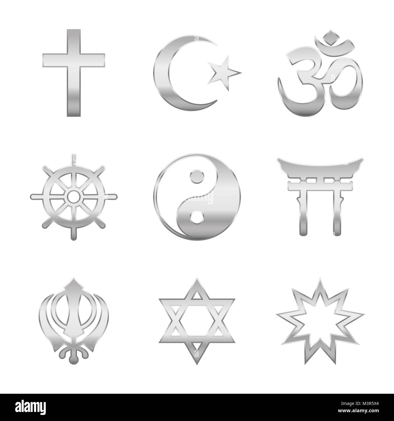 Religion symbols. Silver signs, major world religious groups and religions. Christianity, Islam, Hinduism, Buddhism, - Stock Image