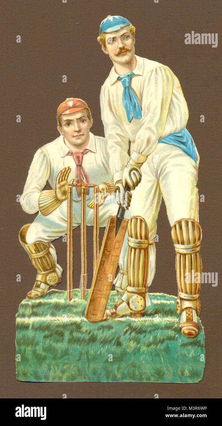 Die cut scrap of cricketers circa  1885 - Stock Image