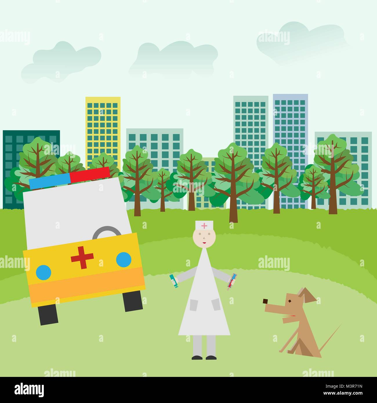 First aid arrived in the park to provide first aid. - Stock Vector