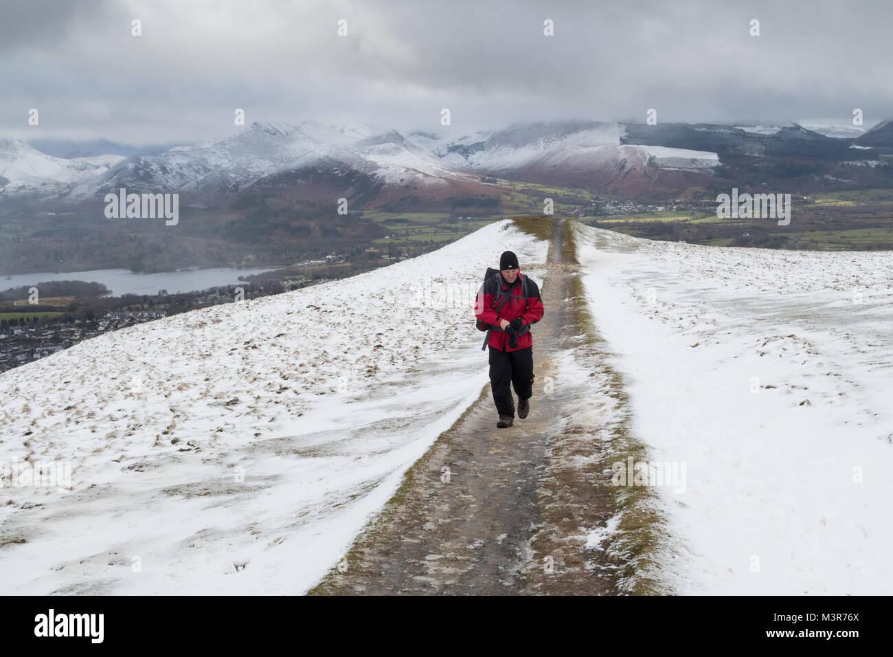 Hill walker near the summit of Latrigg, near Keswick in the Lake District - Stock Image