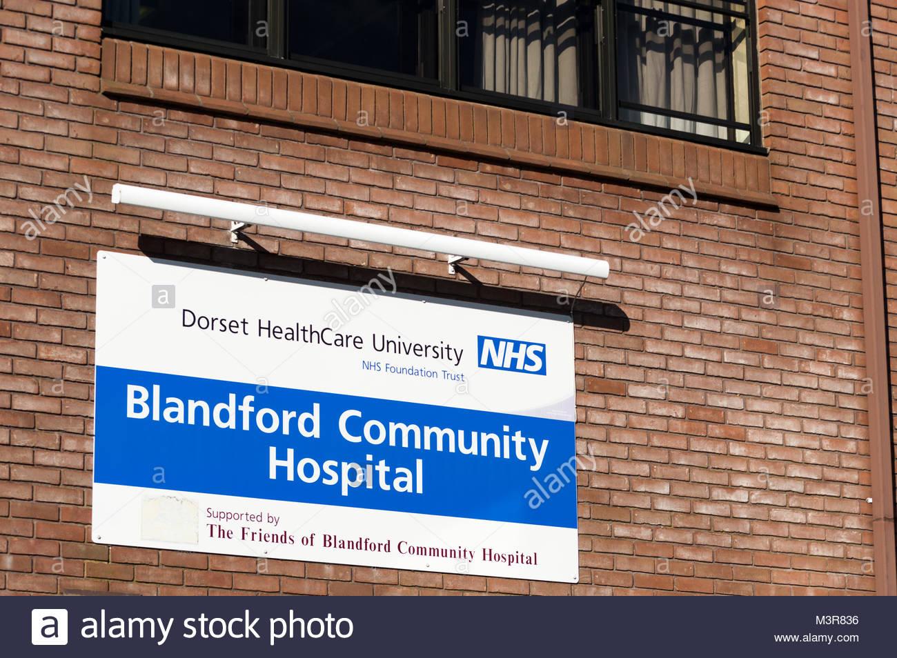Wall sign outside Blandford Forum Community Hospital, Dorset, England - Stock Image