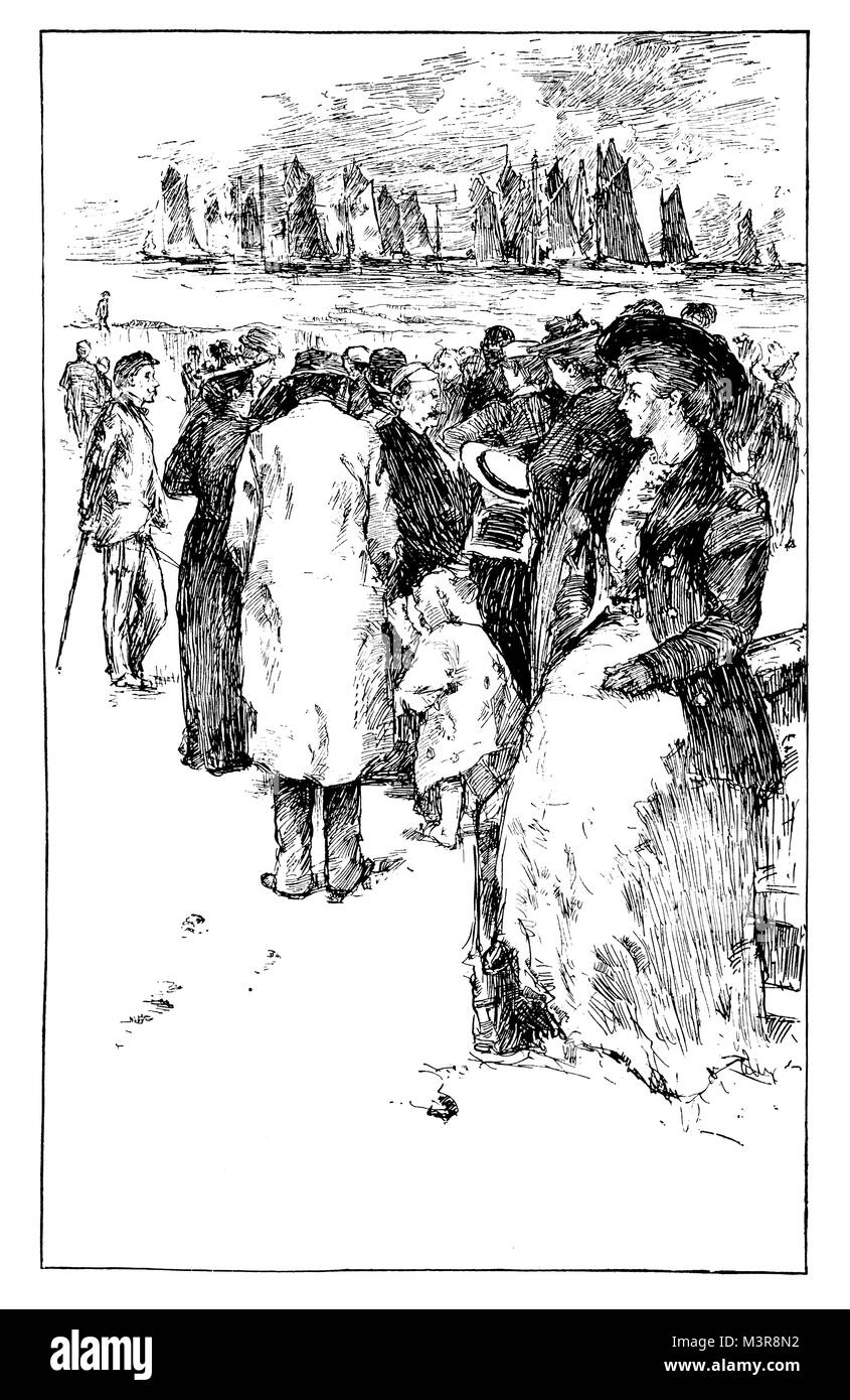 On The Sands, pen and ink sketch of Victorian visitors on beach by English landscape and portrait artist Harry Watson - Stock Image