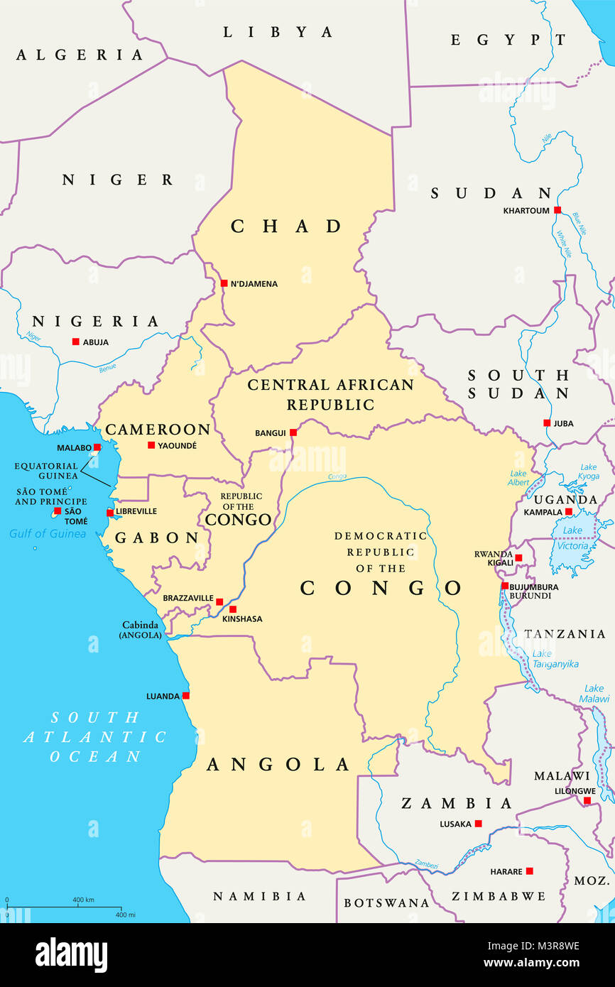 Central Africa region, political map. Area with capitals, borders, lakes and important rivers. Core region of the - Stock Image