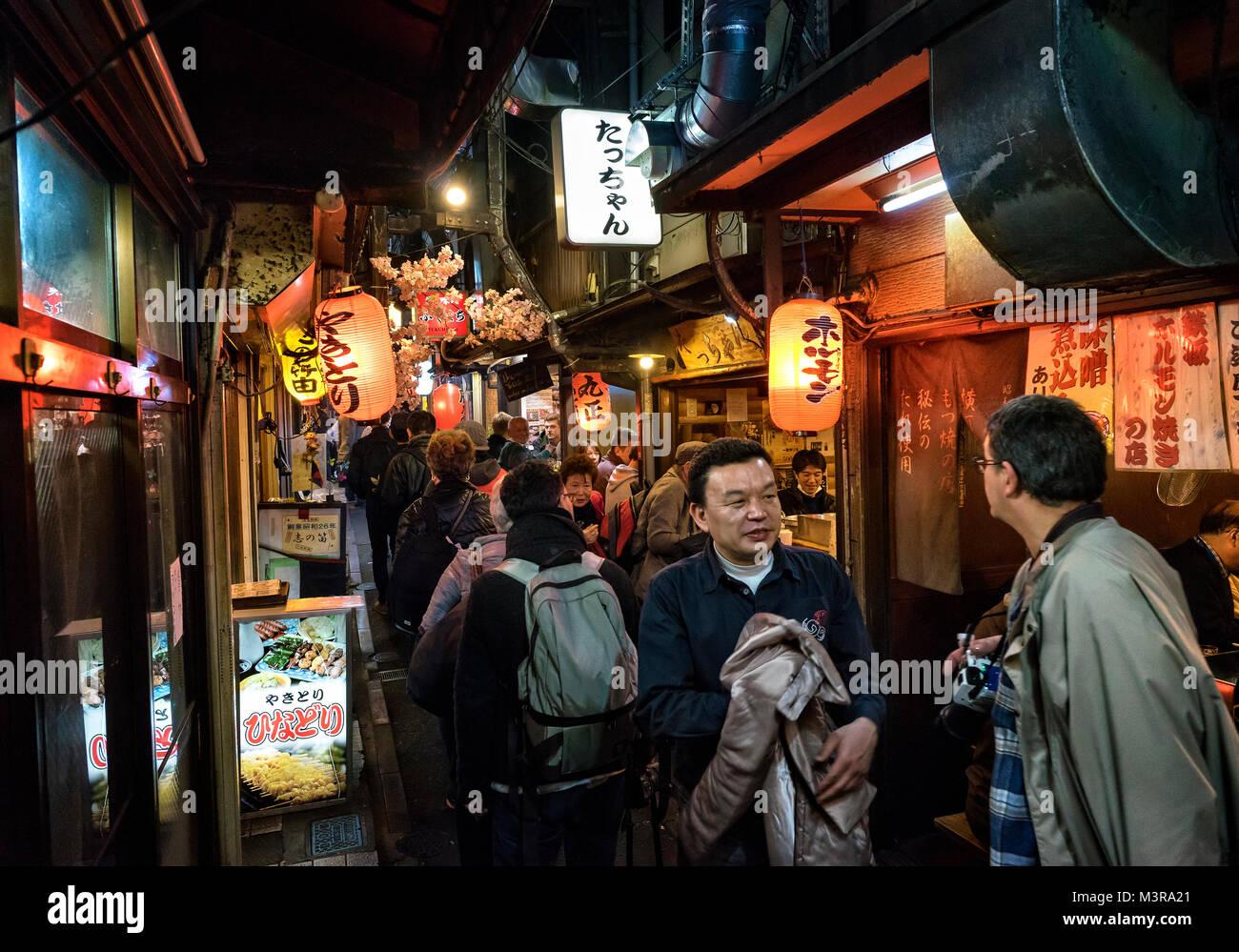 Japan, Honshu island, Kanto, Tokyo, by the streets of Omoide Yokocho a night - Stock Image