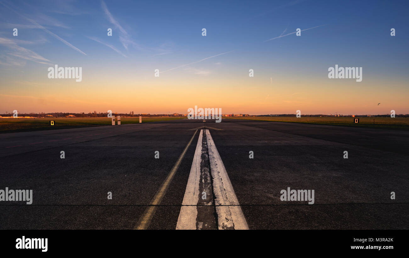 Runway at Tempelhofer Feld. - Stock Image