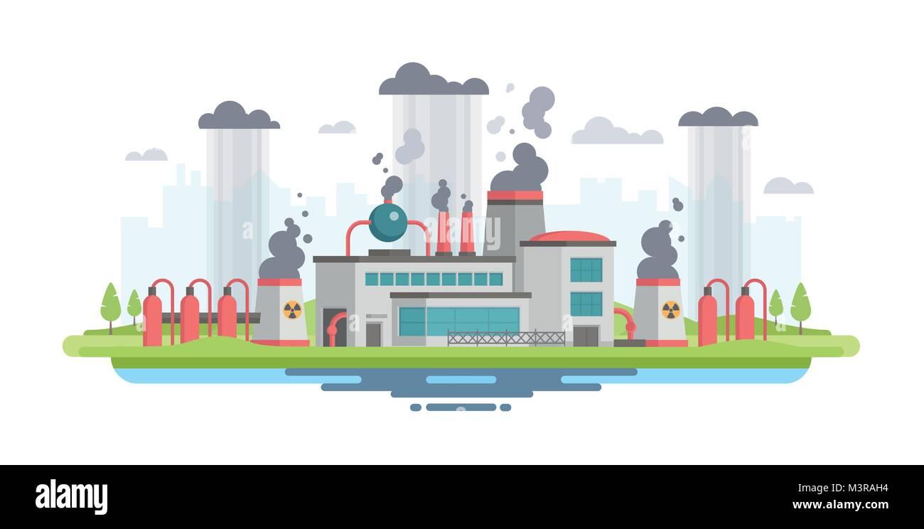 Urban landscape with plant - modern flat design style vector illustration - Stock Image